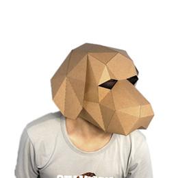 Kawaii kostüme online-Kawaii Hund 3D Puzzle Papier Stereo Tier Maske Cartoon DIY Dance Party Weihnachtsgeschenke Spielzeug Kopfbedeckungen Modell Requisiten Halloween Cosply Kostüme