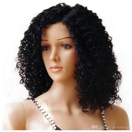 parrucche sveglie del merletto Sconti Parrucche sintetiche ricce crespi del collo sintetico crespo di Afro con i capelli del bambino resistenti al calore per la parrucca sveglia di Bob della donna di colore
