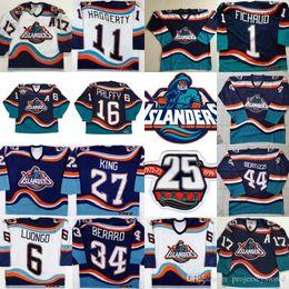 hoodie do estilo do hóquei Desconto New York Islanders Fisherman Jersey com 25 16 Ziggy Palffy 11 Darius Kasparaitis 14 Armstrong 44 Bertuzzi 34 Berard 51 Korolev Jerseys