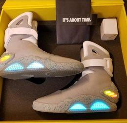 Edições limitadas tênis on-line-Limited Edition Air Mag Back To The Future Brilho No Shoes LED The Dark Grey Sneakers Marty McFly do iluminando Mags Preto Botas vermelho com caixa