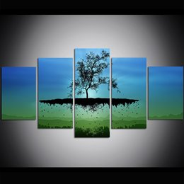 Grandi quadri ad albero online-5 pezzi di grandi dimensioni tela wall art solitario albero pittura a olio di arte della parete immagini per soggiorno dipinti decorazione della parete