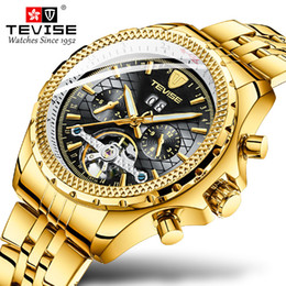 tevise brand watches Coupons - Luxury Brand TEVISE Gold Black Stailness steel Automatic Men Watch Men Multifunction Waterproof Clock Relogio Masculino