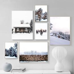 2020 pintando la casa del lago Arte Casa de Madera pared de la lona Pintura Arte nórdicos carteles y pared del sitio de imágenes imprime la nieve Lake Forest Para Living Home Decor pintando la casa del lago baratos