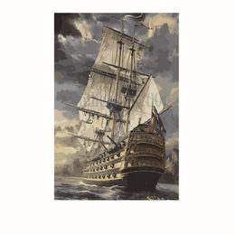 Óleo, pintura, mar on-line-A arte decorativa da parede imprime a pintura a óleo do Seascape na lona para o navio da decoração da casa do hotel na reprodução do óleo da paisagem do mar