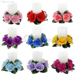 wedding centerpieces candles flowers Promo Codes - Wholesale-10Pcs lot Floral Candle Rings Wedding Centerpieces Silk Roses Flowers Unity Candle Party Home Vase Decoration
