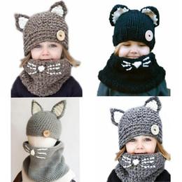 Häkelhauben für babys online-Nette Kinder Hüte Winter Kinder Mädchen Jungen Handhäkelarbeit Warm Caps Schal Set Baby-Bonnet Cartton Katzen-Hut für Kinder Heiße Verkäufe
