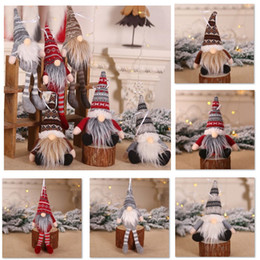 decorações de natal de confecção de malhas Desconto Christmas Ornament Knitted Plush Gnome Doll Christmas Tree Wall Hanging Pendant Holiday Decor Gift Tree Decorations HH9-2461