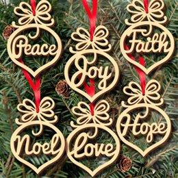 2019 glitterband großhandel rot Weihnachtsbaum hängen Dekorationen Brief Tier Holz Muster Ornament Home Festival Weihnachtsschmuck hängen Xmas Zubehör Party-Sets