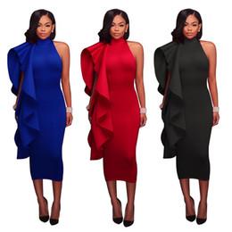 Venta al por mayor de las mujeres con volantes Midi vestido Clubwear partido vestido de noche Color sólido Vestido atractivo de las señoras 3 colores S-XXL desde fabricantes