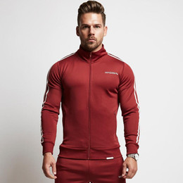 cardigan hoodie striped Promo Codes - Jogger Tracksuits Mens Slim GYM Suits Side Striped Zipper Tops Hoodies Long Pants Outfits 2 PCS Hommes Fitting Active Black Red Tracksuits