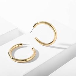 2020 pendiente de tubo Nueva Moda de Color Oro Pendiente de Aro de Aleación Para Las Mujeres Clásico Tubo Grueso Gran Ronda Oval Loop Pendientes de Círculo Joyería Femenina regalos pendiente de tubo baratos