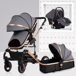 Ruedas de cochecito online-La carriola planBaby High Landscape puede sentarse y plegarse en dos direcciones con cuatro ruedas absorbentes, carrito de invierno, carriola bebé 3 en 1