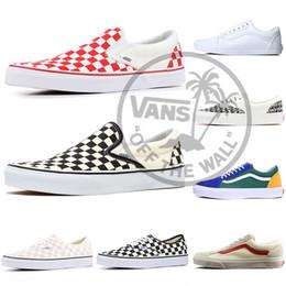 2019 sapatos de parede 2019 Originals clássicos Vans fora da parede skool idade SK8 mens mulheres Skateboarding sapatos preto branco medo de deus Tênis de lona atacado sapatos de parede barato