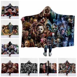 Tapetes impressos on-line-Horror Com Capuz Cobertores Impressão 3D Horror Filme Personagem Assassino Gótico Halloween Cobertores Sherpa Velo Wearable Throw Carpet GGA2168
