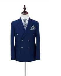 Военно-морской серебристый мужской костюм онлайн-2019 Новый slim fit темно-синий мужские костюмы свадебный костюм мужчины костюм homme mariage двубортный рад кнопка с брюками 2 шт.