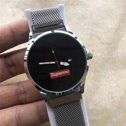 Черные серебряные браслеты онлайн-Горячие роскошные мужские дизайнерские часы черный серебряный браслет мода кварцевые часы дата швейцарский известный бренд наручные часы Montre De luxe