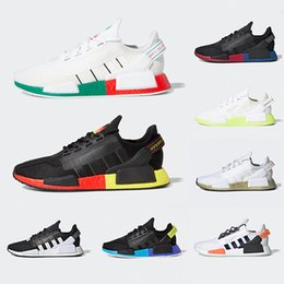 Bright color running shoes on-line-Adidas Red Marble NMD R1 Mens Running Shoes Military Green Oreo atmos Bred Tri-Color OG Classic Men Women Thunder Sports Trainer Sneakers 36-45