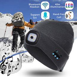 winterhüte lautsprecher Rabatt Designer LED Beanies mit Bluetooth warme Hüte Bluetooth LED Hut Wireless Smart Cap Headset Kopfhörer Lautsprecher LED Hut Licht