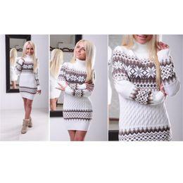 vestido de camisola de comprimento total Desconto 2016 nova Camisola Das Mulheres Outono Alta Quarlity Longo Comprimento Moda Pullovers Gola Alta Manga Comprida Casual Camisola De Malha Vestido