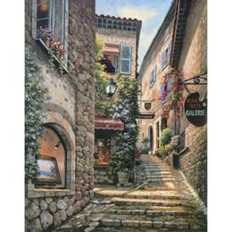 2019 pinturas al óleo italianas Pinturas al óleo pintadas a mano pueblo italiano Galería Pasos arte de la lona paisajes modernos pintura Alta calidad pinturas al óleo italianas baratos