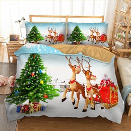 3d quilts covers king size Promo Codes - Merry Christmas Bedding Set 3D Cartoon Santa Claus Duvet Quilt Cover with Pillowcases Twin queen king size 2019 New Year