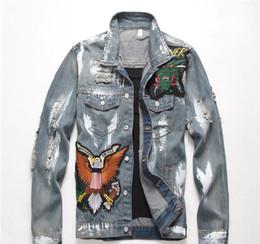 herren-denim-bomberjacke Rabatt Großhandel New Motorrad Buchstabedrucken Jeansjacke hohe Modedesigner berühmt bomber Denim dünne Windjacke Herren Jeans Kleidung