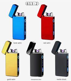 Encendedor de cigarrillos ambiental online-De carga USB elctronic cigarrillo del encendedor a prueba de viento electrónico ultra-delgado alambre eléctrico de calentamiento del encendedor Protect Ambiental