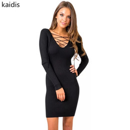 9bf38e42106 kaidis 2019 office lady V neck sheath solid women dress full length lace  knee length black female dress Autumn fashion vestidos