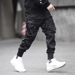 Pantaloni per il ballo hip hop online-Uomini Multi-pocket design elastico in vita Harem Mutanda degli uomini Streetwear Punk Hip Hop Pantaloni jogging maschio danza Pant GW013