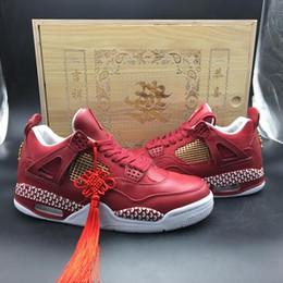 Zapatillas de deporte de gama alta online-Zapatos de baloncesto chinos Elemen 4 4s para hombre Rojo de gama alta personalizado al aire libre entrenador zapatillas deportivas cómodos zapatos de diseñador