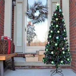 Metallo natale illuminato alberi online-Stati Uniti Stock Artificiale Albero fibra ottica pre-illuminato albero di Natale basamento del metallo Decorazione albero di Natale 6 piedi 7 piedi