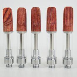 2019 keramikspitze Vape Pen Cartridges 1.0ml Glastanks Holzspitze Zerstäuber Keramik Zellspule ecig Verdampfer Stifte Dicke Ölpatrone 510 Keramikpatronen