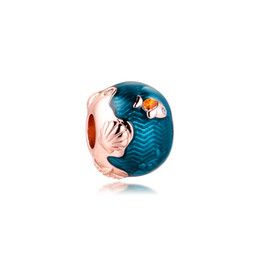 Pez pandora online-Thimmering Ocean Waves Fish Charm Sterling-Silver-Jewelry Beads Se adapta a Pandora Pulseras DIY Mujer Pulseras Perlas Wholesale Beads