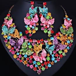 Zubehör mitte osten online-Handbemalte dreidimensionale Schmetterling Kristall Halskette Ohrringe Luxus bohren Nahen Osten afrikanischen Braut Schmuck Haarschmuck f