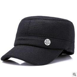 Повседневная корейская шапка онлайн-Mens flat top hat new winter beret for men Korean version with thick warm ear protection casual outdoor elderly cap