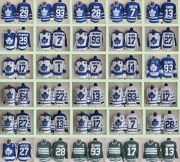 2019 leafs hiver classique maillot Classique hivernale des Maple Leafs de Toronto Hommes # 7 Tim Horton 93 Doug Gilmour 27 Darryl Sittler 17 Wendel Clark 14 Chandails de hockey sur glace Dave Keon leafs hiver classique maillot pas cher