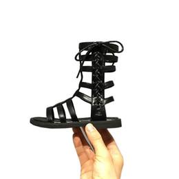 sandali gladiatore delle ragazze alte Sconti Estate romana stivali scarpe per bambini High-top gladiatore ragazze sandali per bambini all'aperto di alta qualità in pelle bambino piccolo scarpe ragazze