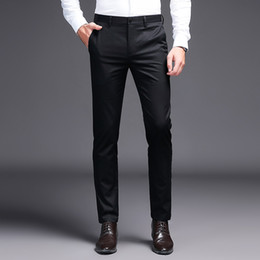 2019 Men Dress Pants Khaki Suit Pants Fashion Brand Black Business Trousers Straight Work For Male Solid Color Skinny Pant