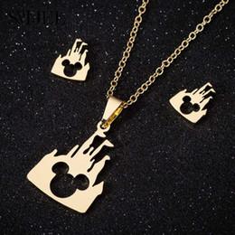 Ювелирные изделия микки онлайн-SMJEL нержавеющей стали Микки ожерелья комплект ювелирных изделий милые дети подарки мультфильм мышь замок животных собака мать ожерелья Бижу