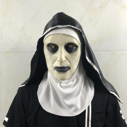 Maschere di viso horror online-Vendita al dettaglio di Halloween The Nun Maschera Orrore Cosplay Valak maschere spaventose lattice Casco integrale demone Halloween Party costume puntelli regalo
