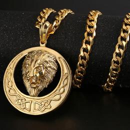 2019 löwenanhänger für männer 18 Karat Vergoldet Lion Anhänger Halsketten für Mann Punk Hip Hop Lange Kette 316L Edelstahl Kubanischen Ketten Chorker Geschenke günstig löwenanhänger für männer