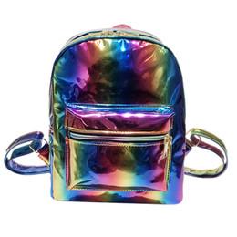 2019 saco de escola coreano de couro 2019 NOVA mochila das mulheres coreano moda Menina Rainbow Saco De Escola A Laser De Couro Mochila Mulheres Satchel Trave Ombro desconto saco de escola coreano de couro
