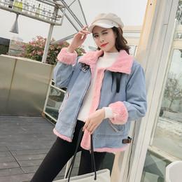 ccab9629dbfb6 2019 Winter New Women Velvet thickened Jean Parkas Plus Size lamb hair denim  cotton coat For Female Outerwear Z589