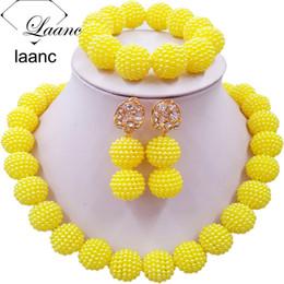 2019 grano de nigeria amarillo Joyería Laanc amarillo simulados granos de la perla de África conjunto de boda de Nigeria SP1R012 Collar grano de nigeria amarillo baratos