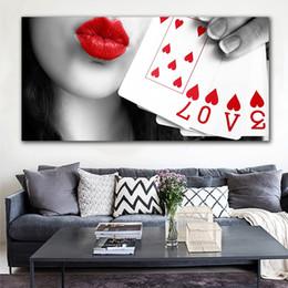 moderne klassische gitarre Rabatt Panel 1 Moderne rote Lippen Frauen Leinwand-Malerei Poker-Liebes-Wand-Druck Plakat-Kunst-Abbildung für Wohnzimmer-Dekoration No Frame