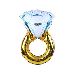 2019 ballons de fiançailles 1pc 54x84cm diamant forme ballon d'engagement Bride Anneau Aluminium Foil Ballon mariage mariage Valentine Décorations de fête bricolage ballons de fiançailles pas cher