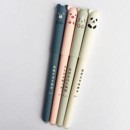 Material panda on-line-Caneta Gel animal Dos Desenhos Animados Panda Mouse Caneta Apagável Azul Preto Tinta Material de Escritório Papelaria Presente 0.35 Nib