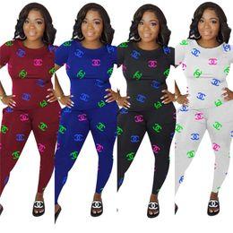 Shorts baratos camisas t on-line-Mulheres Designer de marca t-shirt leggings duas peças set treino de manga curta tee top pant sportswear Outfits Sprots Terno Atacado Barato 624
