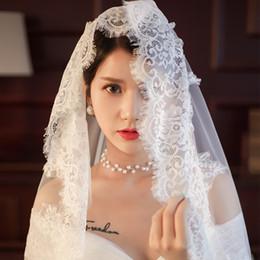 Uma camada de véu de casamento longo on-line-Encantador Pestana Lace Catedral Veil Um Nível Longo Casamento Nupcial Branco Véus Acessórios Feitos À Mão