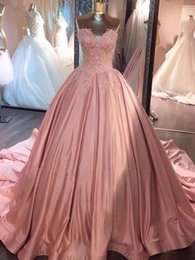 2019 New Arrival Blush Pink Lace Ball Gown Quinceanera Dresses Lace Applique Sweetheart Court Train Vestidos 15 Anos Sweet 16 Dresses